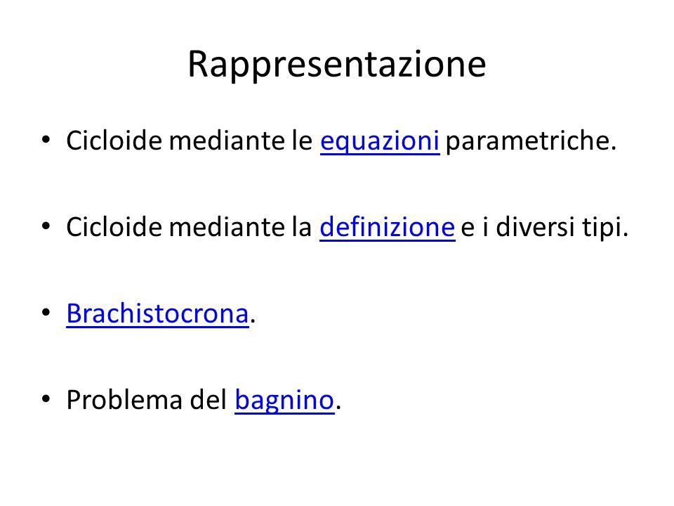 Rappresentazione Cicloide mediante le equazioni parametriche.