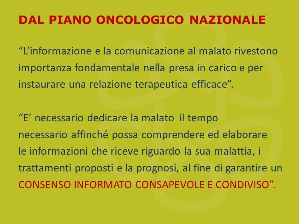 DAL PIANO ONCOLOGICO NAZIONALE L'informazione e la comunicazione al malato rivestono importanza fondamentale nella presa in carico e per instaurare una relazione terapeutica efficace .
