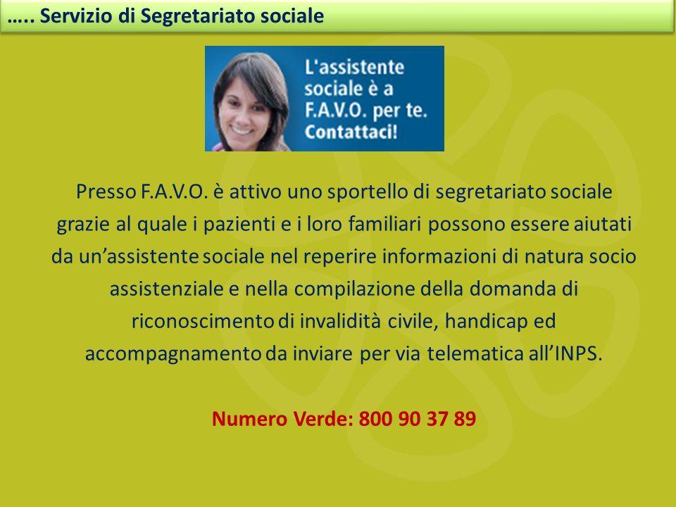 ….. Servizio di Segretariato sociale