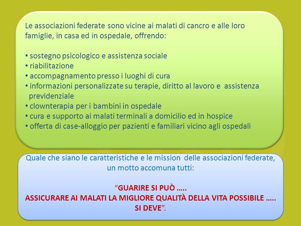 ASSICURARE AI MALATI LA MIGLIORE QUALITÀ DELLA VITA POSSIBILE …..
