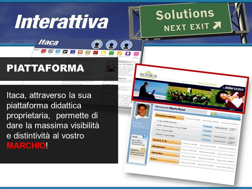 PIATTAFORMA Itaca, attraverso la sua piattaforma didattica proprietaria, permette di dare la massima visibilità e distintività al vostro MARCHIO!