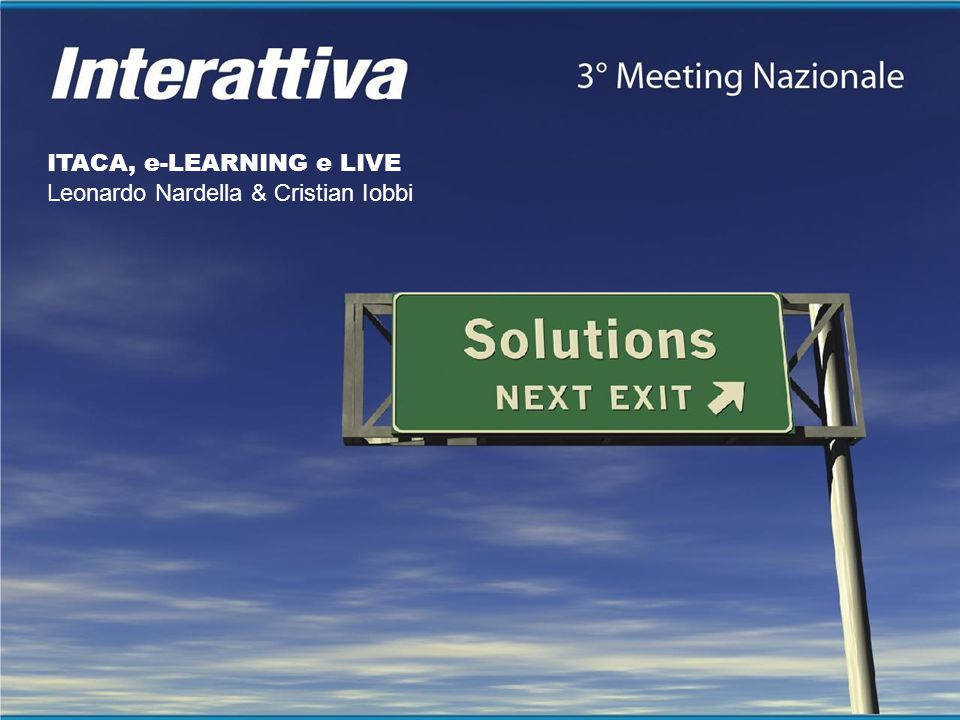 ITACA, e-LEARNING e LIVE