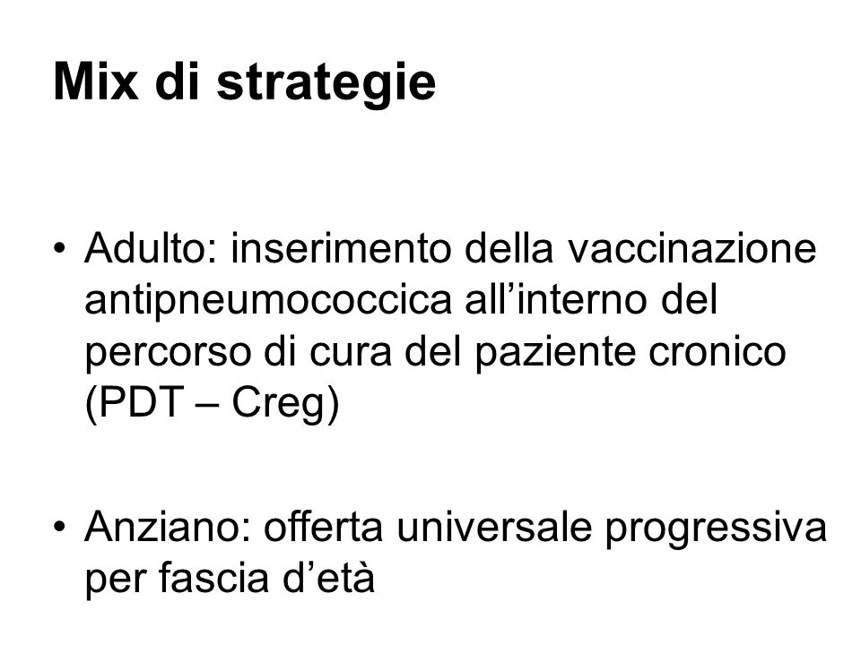 Mix di strategie Adulto: inserimento della vaccinazione antipneumococcica all'interno del percorso di cura del paziente cronico (PDT – Creg)