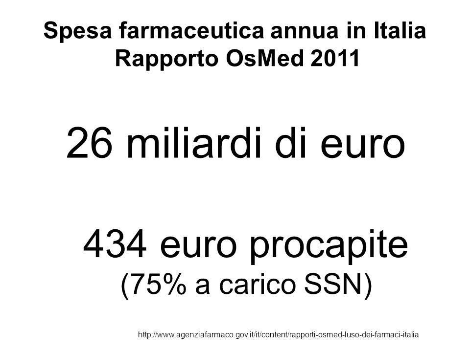 Spesa farmaceutica annua in Italia Rapporto OsMed 2011