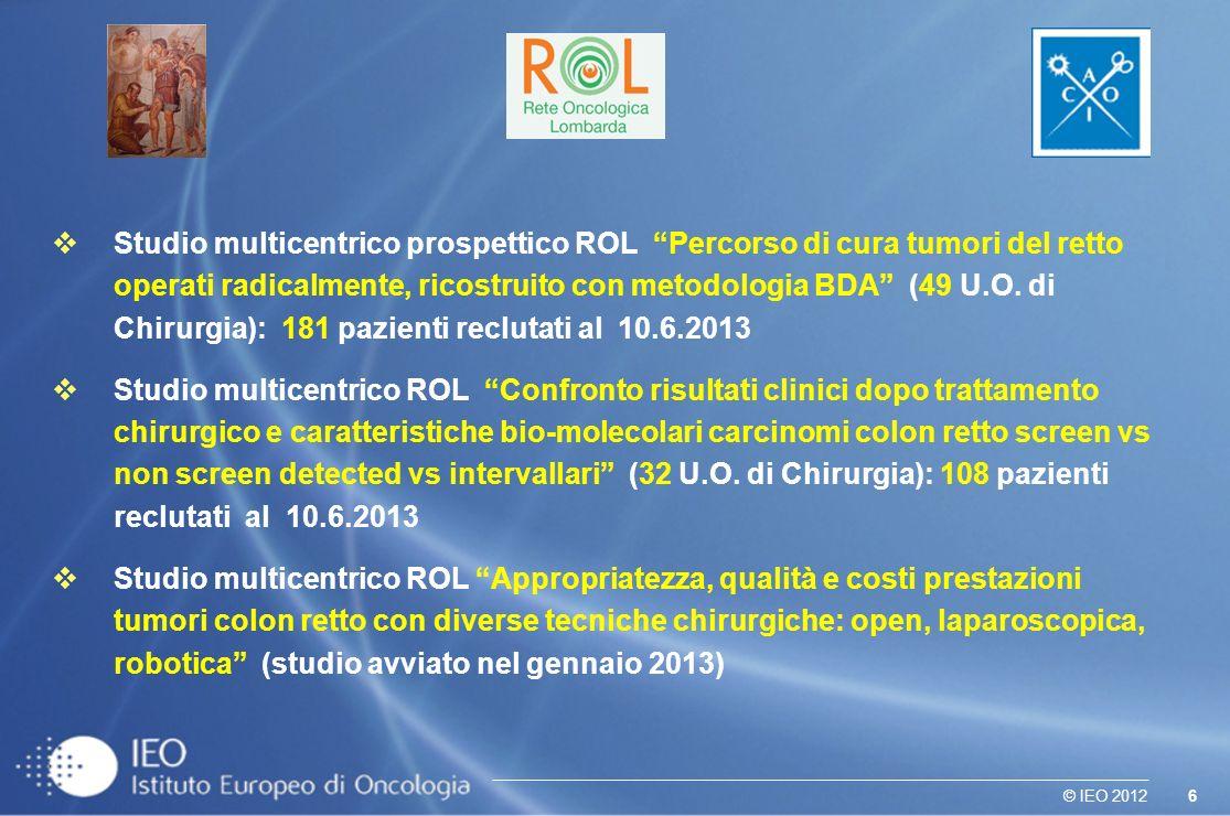 Studio multicentrico prospettico ROL Percorso di cura tumori del retto operati radicalmente, ricostruito con metodologia BDA (49 U.O. di Chirurgia): 181 pazienti reclutati al 10.6.2013