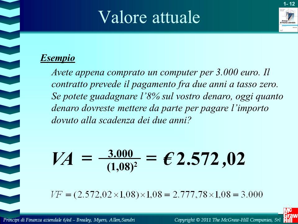 02 572 2 , . € VA = Valore attuale 3.000 (1,08)2 Esempio