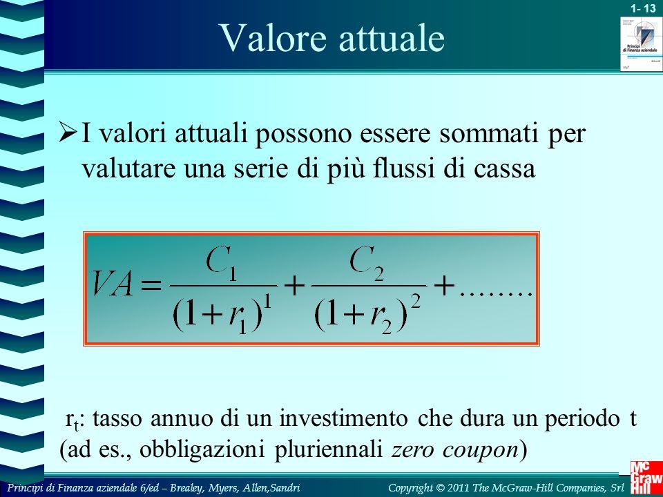 Valore attuale I valori attuali possono essere sommati per valutare una serie di più flussi di cassa.