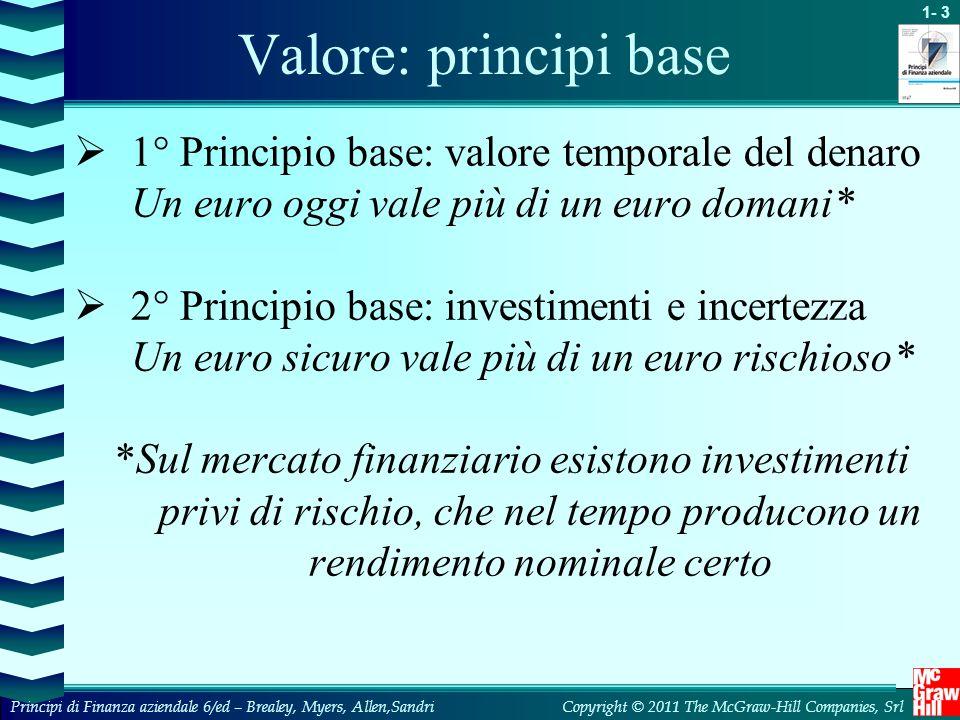 Valore: principi base 1° Principio base: valore temporale del denaro