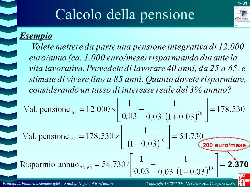 Calcolo della pensione