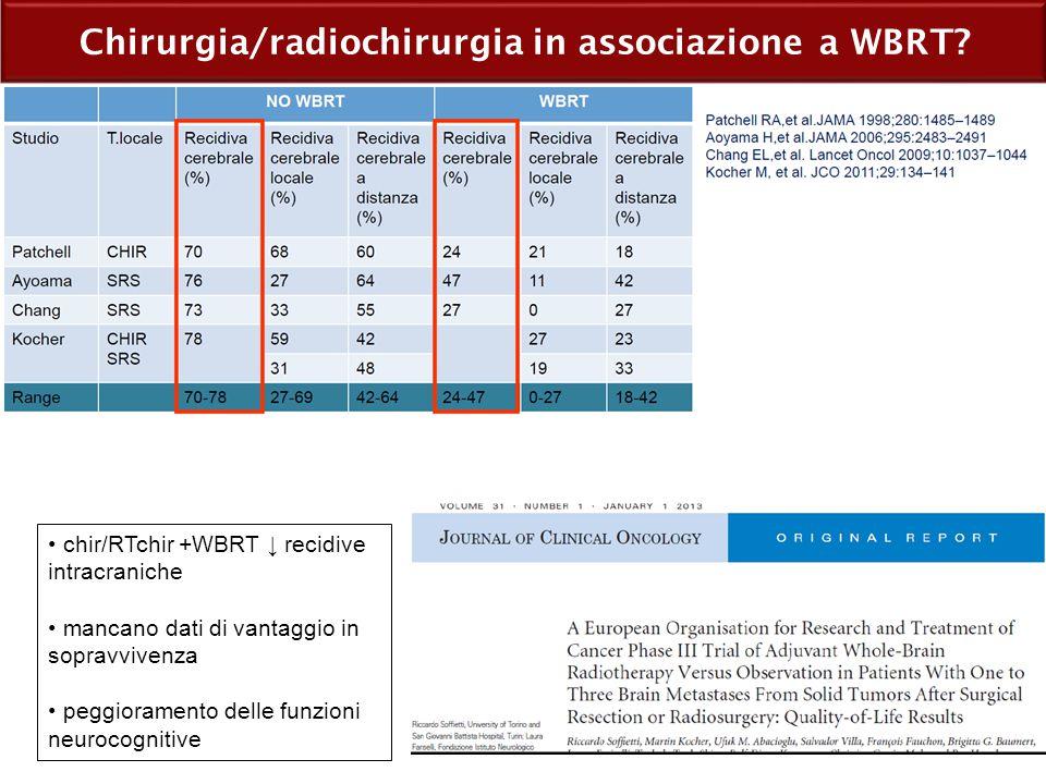 Chirurgia/radiochirurgia in associazione a WBRT
