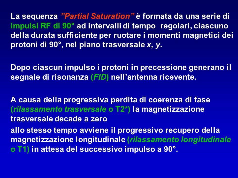 La sequenza Partial Saturation è formata da una serie di impulsi RF di 90° ad intervalli di tempo regolari, ciascuno della durata sufficiente per ruotare i momenti magnetici dei protoni di 90°, nel piano trasversale x, y.