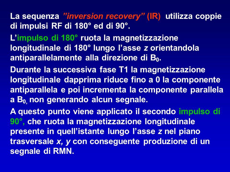 La sequenza inversion recovery (IR) utilizza coppie di impulsi RF di 180° ed di 90°.