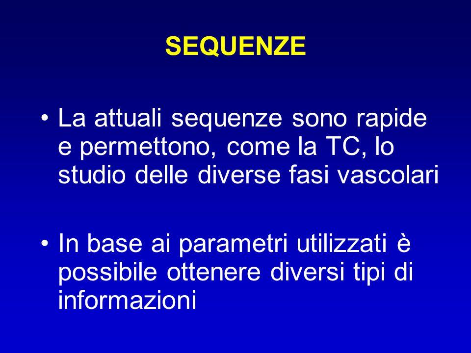 SEQUENZE La attuali sequenze sono rapide e permettono, come la TC, lo studio delle diverse fasi vascolari.