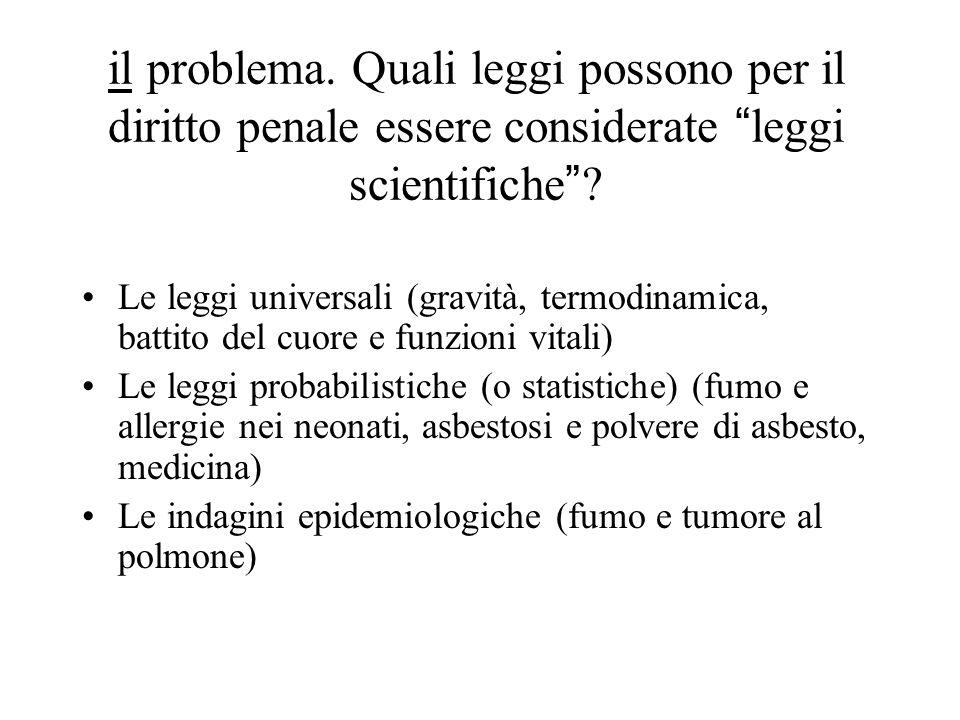 il problema. Quali leggi possono per il diritto penale essere considerate leggi scientifiche