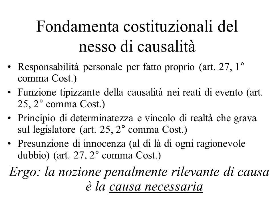 Fondamenta costituzionali del nesso di causalità