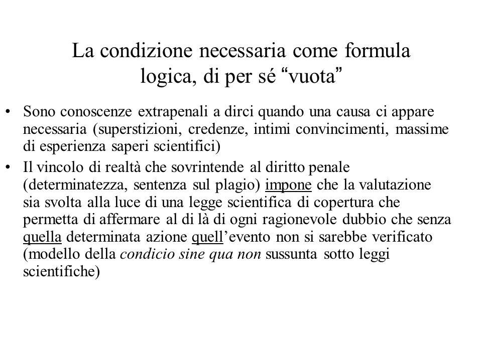 La condizione necessaria come formula logica, di per sé vuota