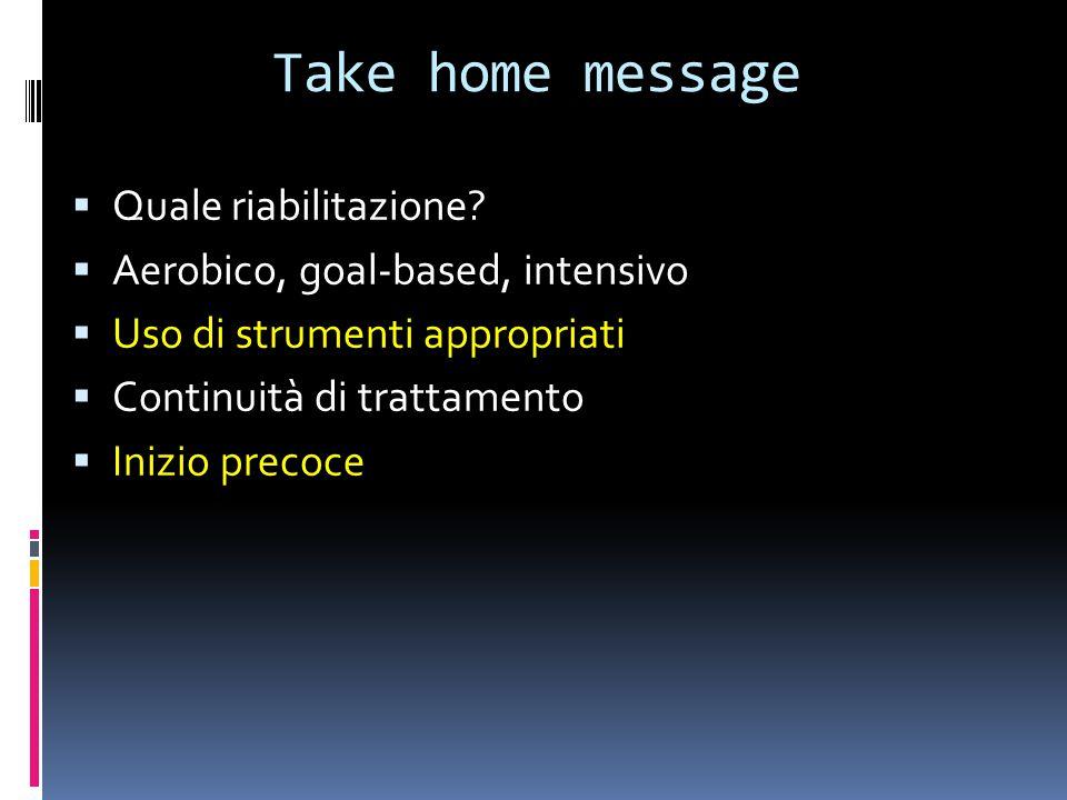 Take home message Quale riabilitazione