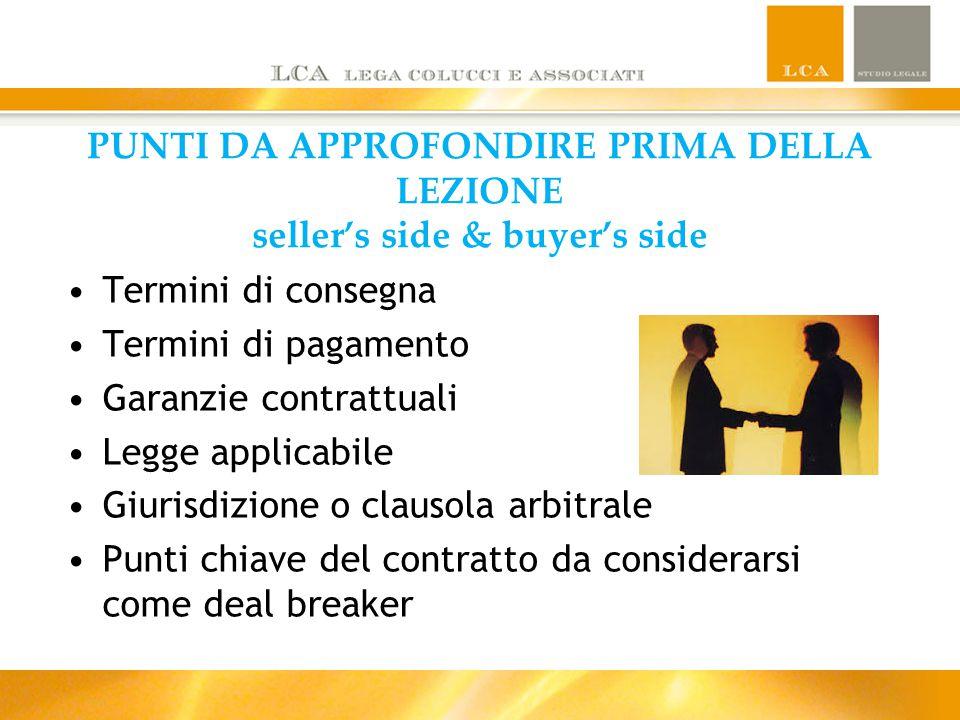 PUNTI DA APPROFONDIRE PRIMA DELLA LEZIONE seller's side & buyer's side