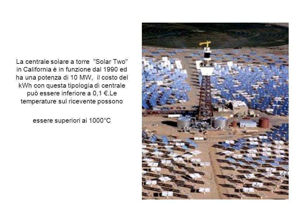 La centrale solare a torre Solar Two in California è in funzione dal 1990 ed ha una potenza di 10 MW, il costo del kWh con questa tipologia di centrale può essere inferiore a 0,1 €.Le temperature sul ricevente possono essere superiori ai 1000°C