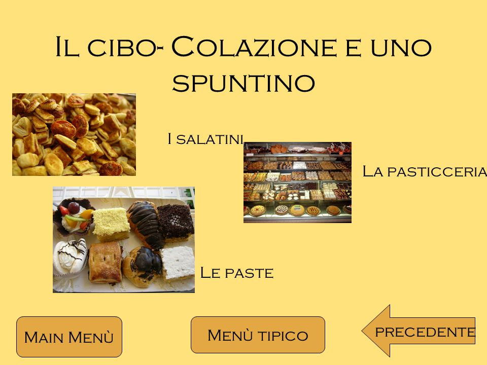 Il cibo- Colazione e uno spuntino