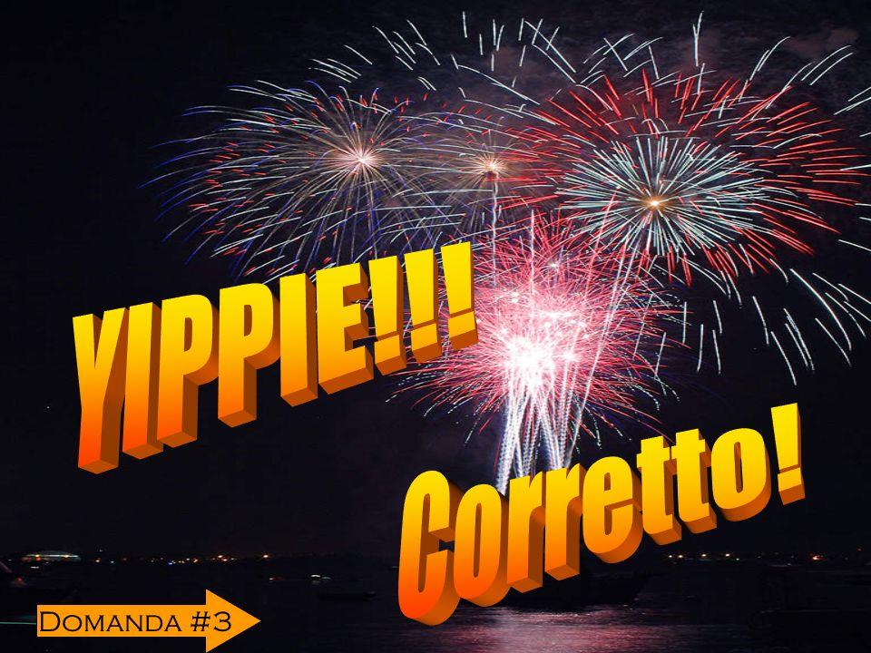 YIPPIE!!! Corretto! Domanda #3