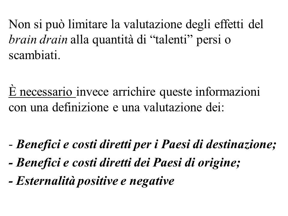 Non si può limitare la valutazione degli effetti del brain drain alla quantità di talenti persi o scambiati.