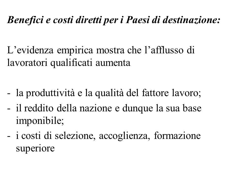 Benefici e costi diretti per i Paesi di destinazione: