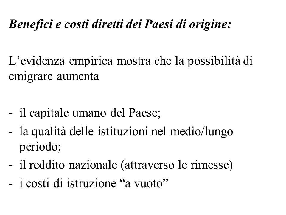 Benefici e costi diretti dei Paesi di origine: