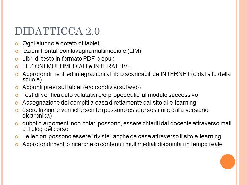 DIDATTICCA 2.0 Ogni alunno è dotato di tablet