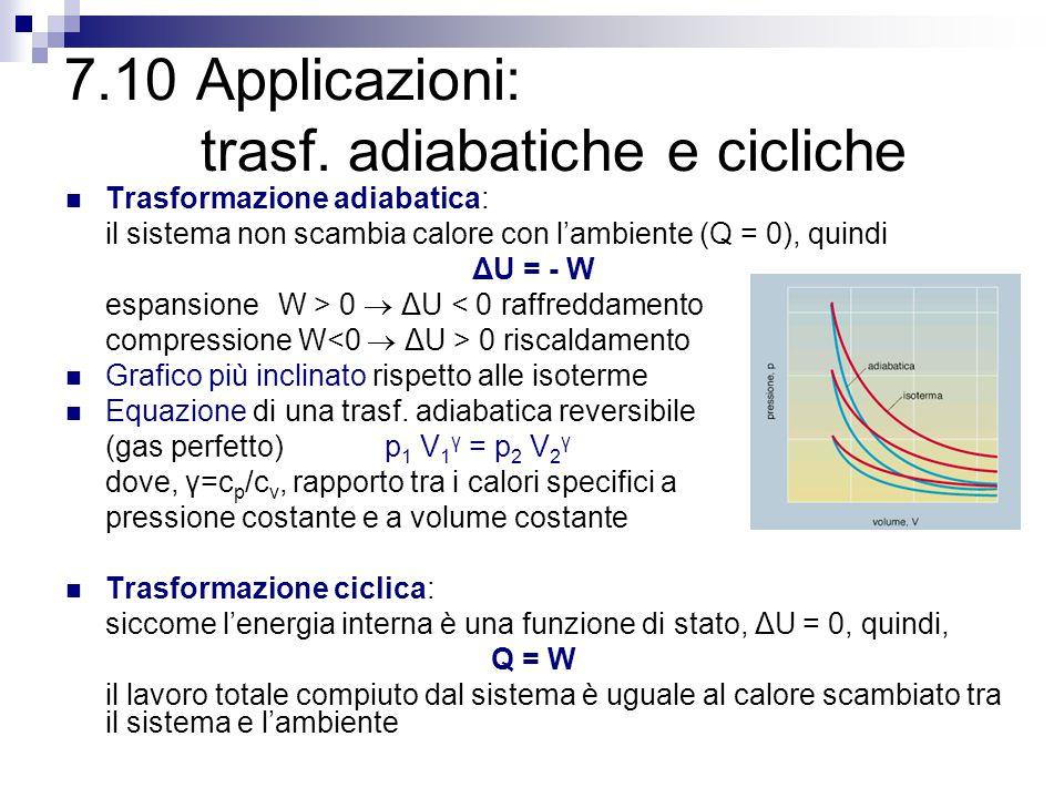 7.10 Applicazioni: trasf. adiabatiche e cicliche