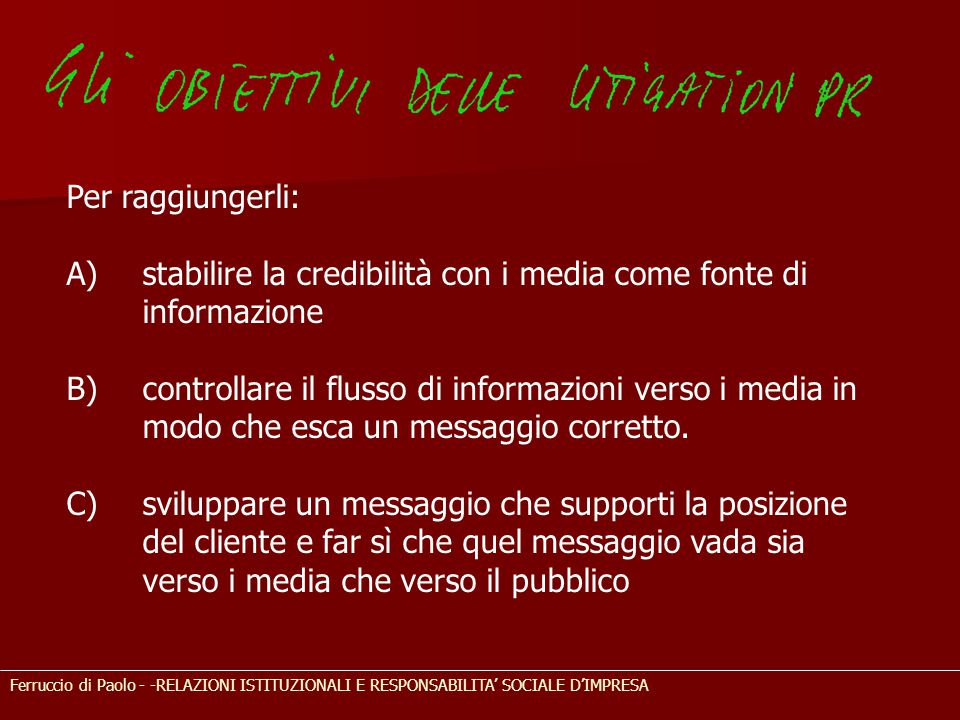 stabilire la credibilità con i media come fonte di informazione