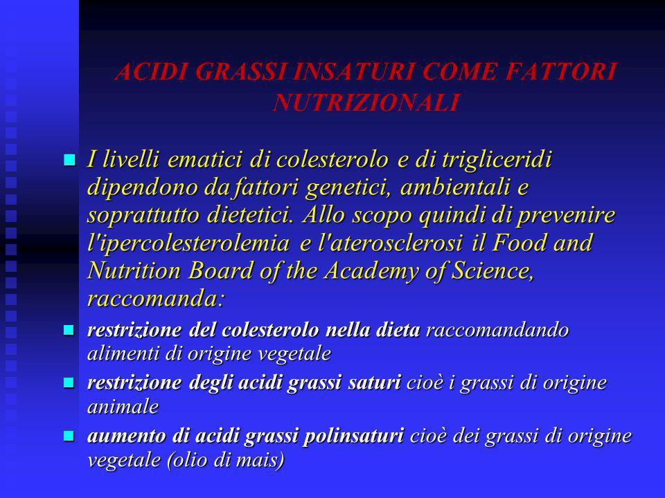 ACIDI GRASSI INSATURI COME FATTORI NUTRIZIONALI