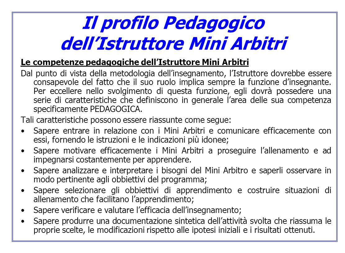 Il profilo Pedagogico dell'Istruttore Mini Arbitri