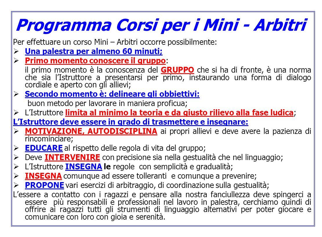 Programma Corsi per i Mini - Arbitri