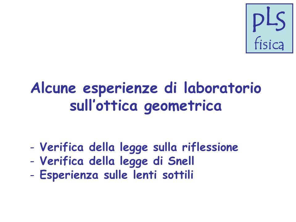 Alcune esperienze di laboratorio sull'ottica geometrica