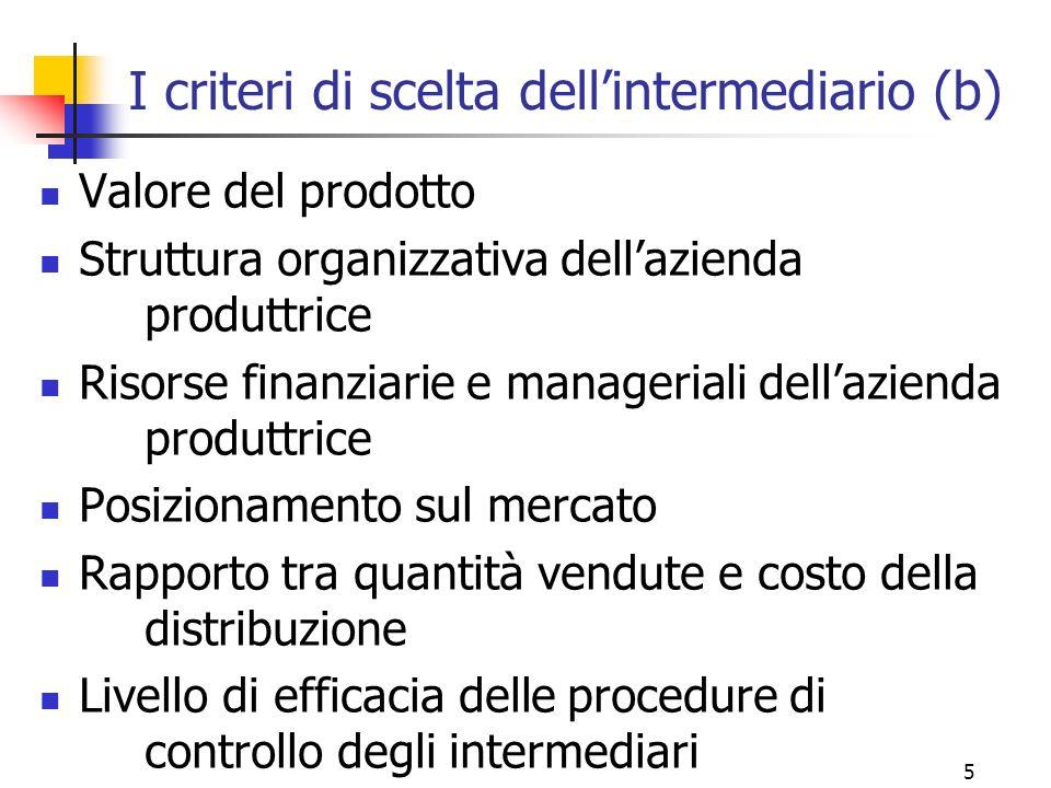 I criteri di scelta dell'intermediario (b)
