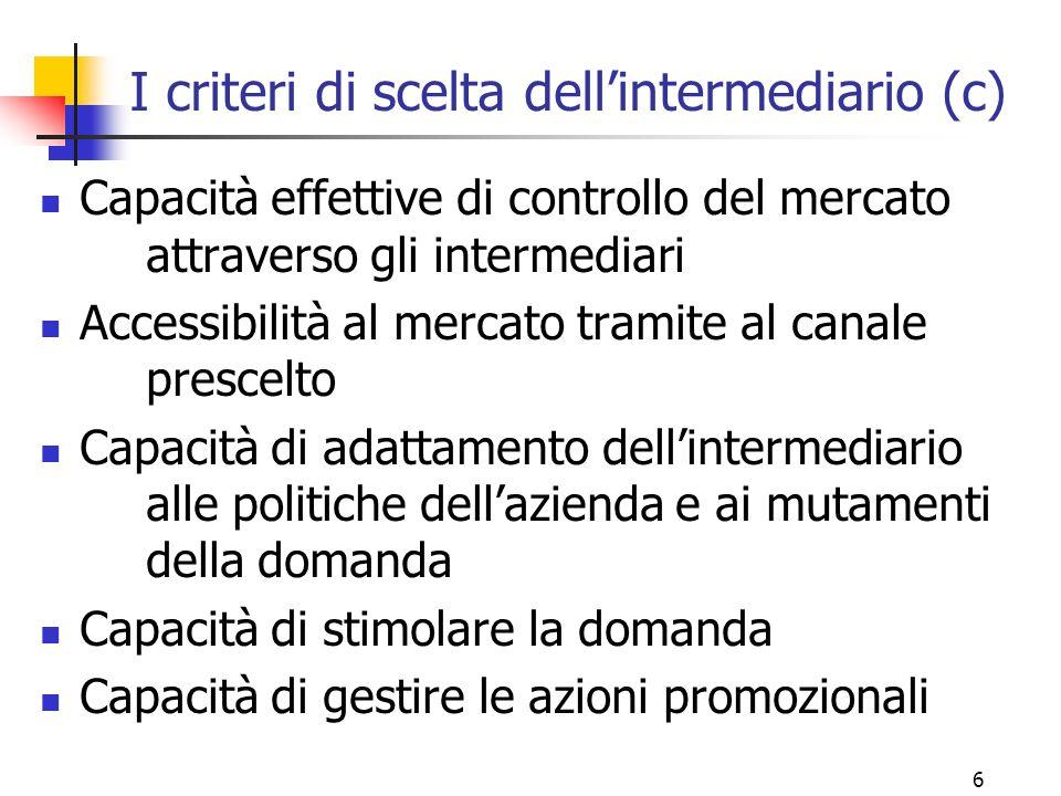 I criteri di scelta dell'intermediario (c)