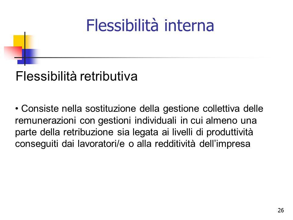 Flessibilità interna Flessibilità retributiva