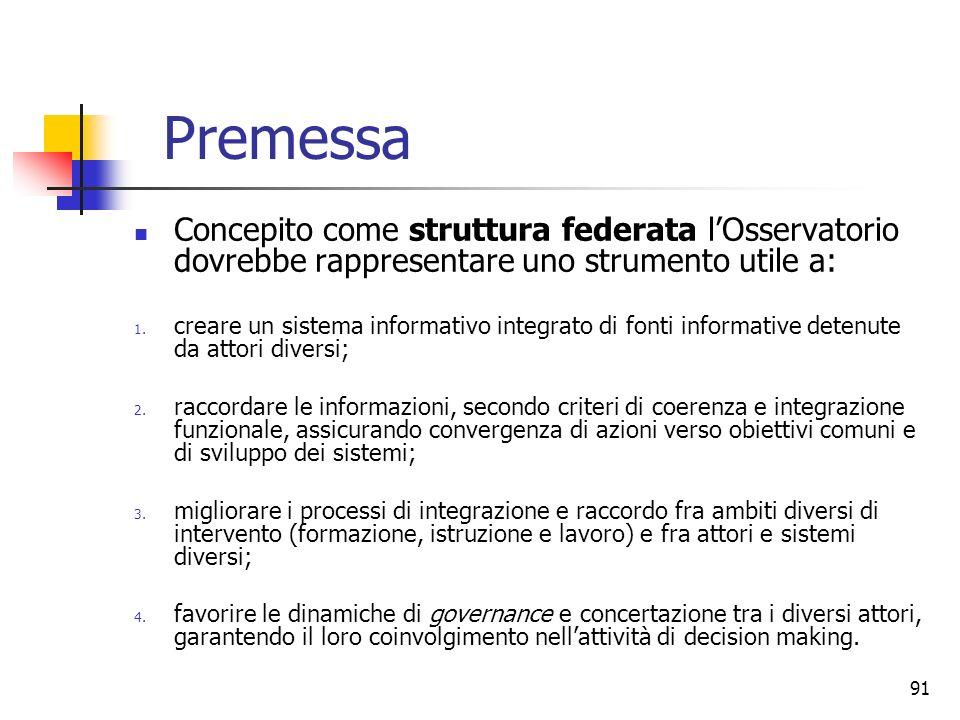 Premessa Concepito come struttura federata l'Osservatorio dovrebbe rappresentare uno strumento utile a: