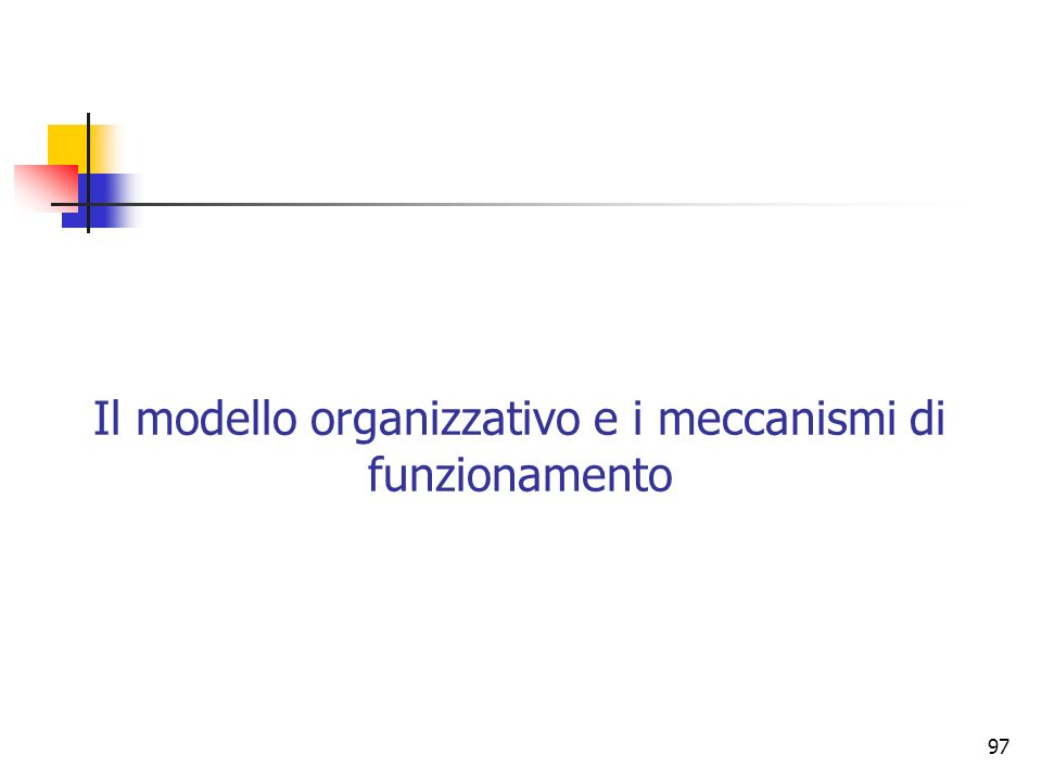 Il modello organizzativo e i meccanismi di funzionamento