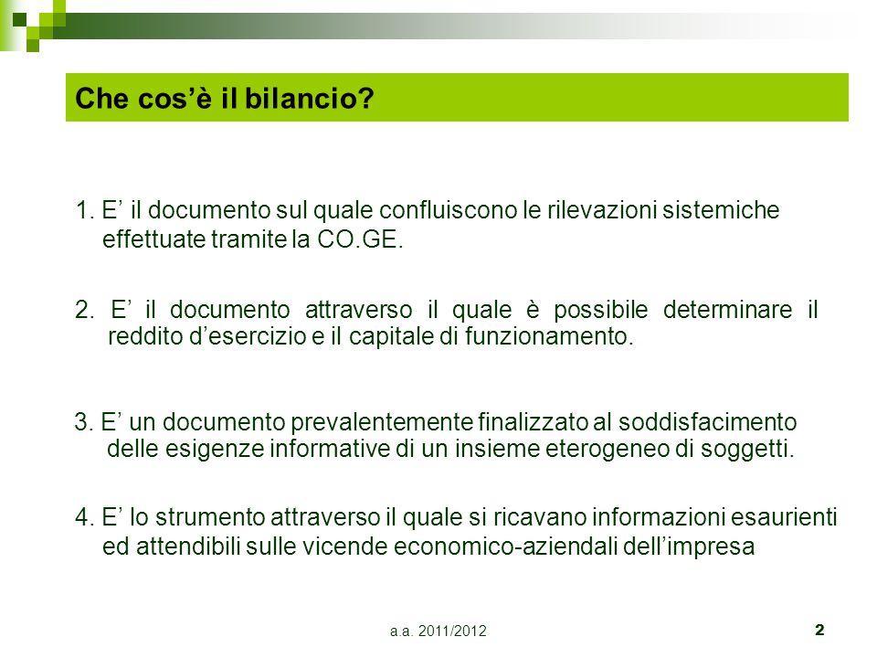 Che cos'è il bilancio 1. E' il documento sul quale confluiscono le rilevazioni sistemiche effettuate tramite la CO.GE.