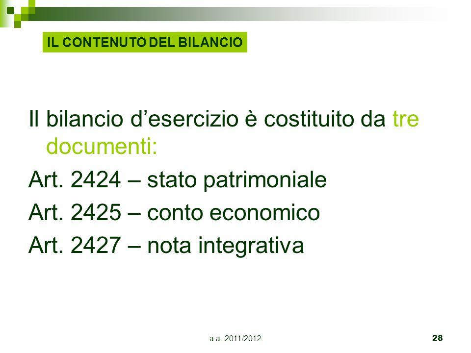 Il bilancio d'esercizio è costituito da tre documenti: