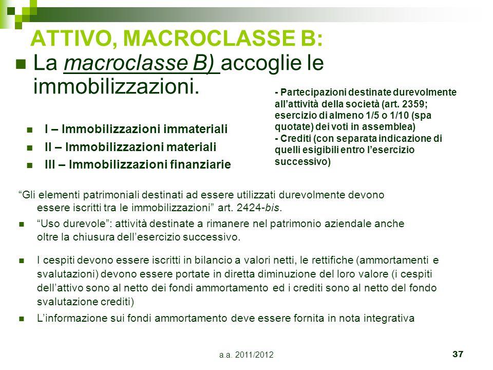 La macroclasse B) accoglie le immobilizzazioni.