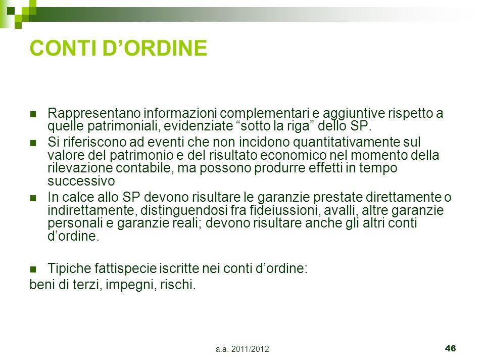 CONTI D'ORDINE Rappresentano informazioni complementari e aggiuntive rispetto a quelle patrimoniali, evidenziate sotto la riga dello SP.