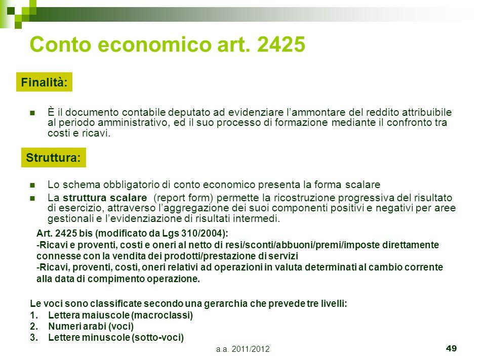 Conto economico art. 2425 Finalità: Struttura: