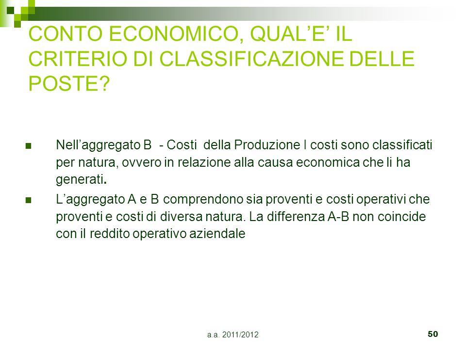 CONTO ECONOMICO, QUAL'E' IL CRITERIO DI CLASSIFICAZIONE DELLE POSTE