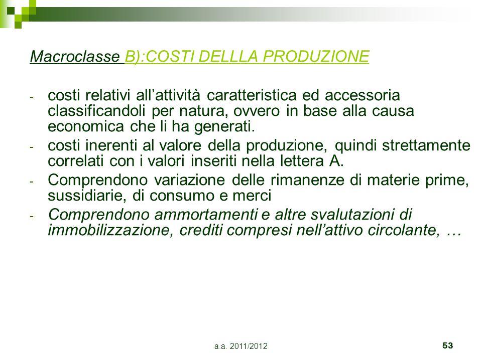 Macroclasse B):COSTI DELLLA PRODUZIONE