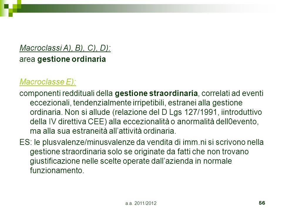 Macroclassi A), B), C), D): area gestione ordinaria Macroclasse E):