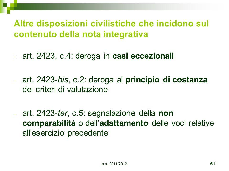 Altre disposizioni civilistiche che incidono sul contenuto della nota integrativa