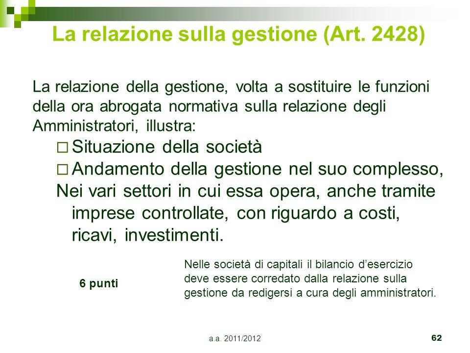 La relazione sulla gestione (Art. 2428)